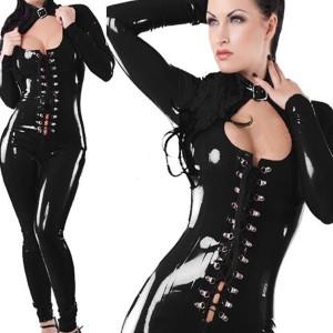 Sexy Cosplay Bandage Long Sleeves Jumpsuit Costume - Black