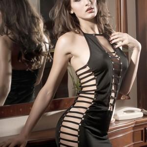 Sexy Charming Hollow-Out Lingerie Dress Braces Skirt + Underpants Set - Black