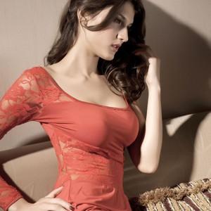 Sexy Charming Lace Babydoll Dress Braces Skirt + Underpants Lingerie Set - Orange