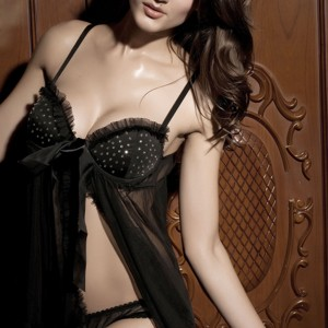 Sexy Charming Lace Lingerie Babydoll Dress Braces Skirt with Underpants - Black