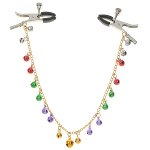Colorful Bells Chain Adjustable Loose/Tight Tip Nipple Clamps (Color Assorted)