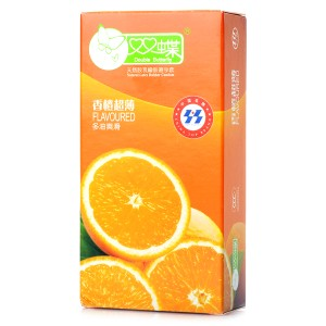 Double Butterfly Orange-Flavored Ultra-Thin Premium Condoms (10-Piece Pack)