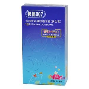 Bond007 Ultra-Thin 0.05mm Magic Ribbed Natural Latex Condom (10-Pack)