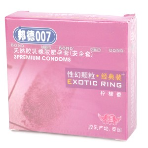 Bond007 Ultra-Thin 0.05mm Exotic Ring Natural Latex Condom (Lemon Scent / 3-Pack)