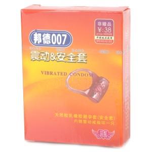 Bond007 Ultra-Thin 0.05mm Natural Latex Condom + Vibration Ring Set (2 x L154)