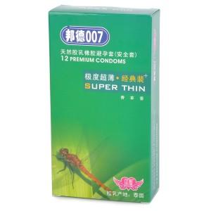 Bond007 Supper-Thin 0.03mm Natural Latex Condom (12-Pack)