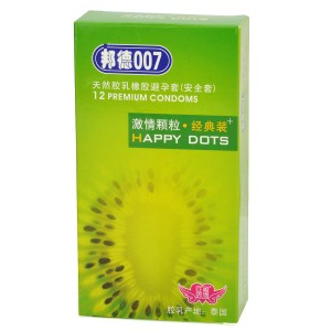Bond007 Ultra-Thin 0.05mm Happy Dots Natural Latex Condom (12-Pack)