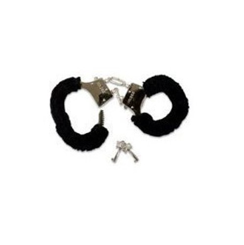 Sexy Soft Steel Fuzzy Black Furry Handcuffs Hand Cuffs Valentines day