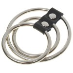Stainless Steel Leather Time Delay Rings (3-Pieces Set)