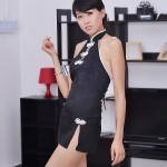 Sexy Backless Chinese Cheongsam Cosplay Lingerie W G String Black