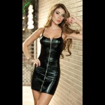 Sexy High Elastic Zippered Close-Fitting Strap Dress - Black