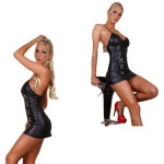 Sexy Revealing Keyhole Leather Clubwear Slip Dress Curve Costume-Black