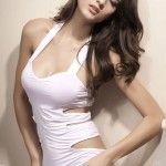 Sexy Charming Hollow-Out Dress Braces Skirt + Underpants Lingerie Set - White