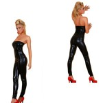 Sexy Lingerie Elastic Boat Neck Jumpsuits Curve Costume-Black