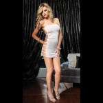 Hot Sexy High Elastic Hollow-Out Strapless Dress + G-String Set - White