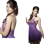 Sophisticated Lace Sexy Dreamily Curve Lingerie Hot Sleepshirts - Purple