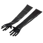 Intimate Love Rubber Surface Spandex Cloth Gloves - Black (Pair)