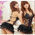 sexy lingerie Hot Black babydoll lace skirt nighty dress Flowers costume sexy sleepwear