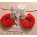 Sexy Soft Red Steel Fuzzy Furry Handcuffs Fur Trimmed Sex Toy Hand Cuffs