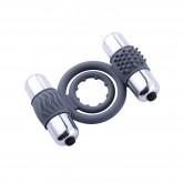 Hismith Dual Vibrating Cock Ring with Mini Bullet Vibrators for Men